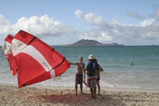 Kiteboarding at Kailua Beach, Hawaii