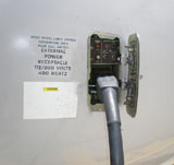 Ground Power cable supplying electrical power to the aircraft