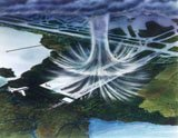 Microburst are powerful and intense downdrafts. They are like a giant hand pushing you down.
