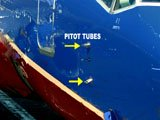 Pitot Tubes are usually located on either side of the forward fuselage, underneath the pilots' windows